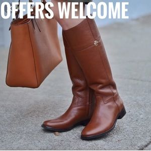 TORY BURCH Brown riding boot pebbled Leather Jolie